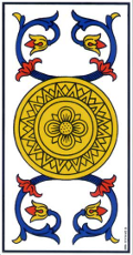 As de Deniers renversé Tarot de Marseille interprétation